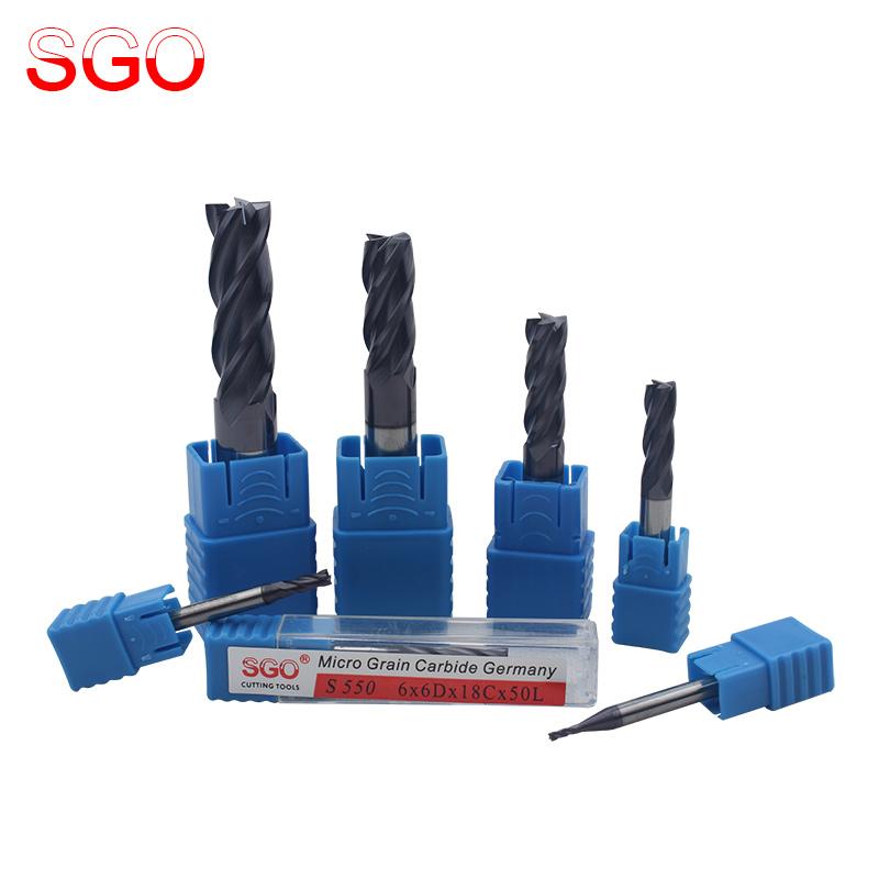 SGO55度超微粒鎢鋼銑刀CNC數控刀具合金塗層立銑刀平底刀鑼刀