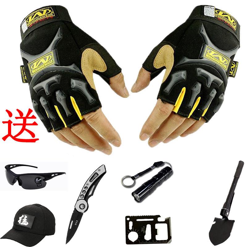 海豹半指手套男女秋冬战术骑行户外运动登上防滑健身漏指迷彩手套
