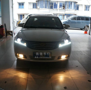 Dorsett EC7 sedan xenon headlight assembly angel eyes LED daytime running lights with turn signals bifocal lens