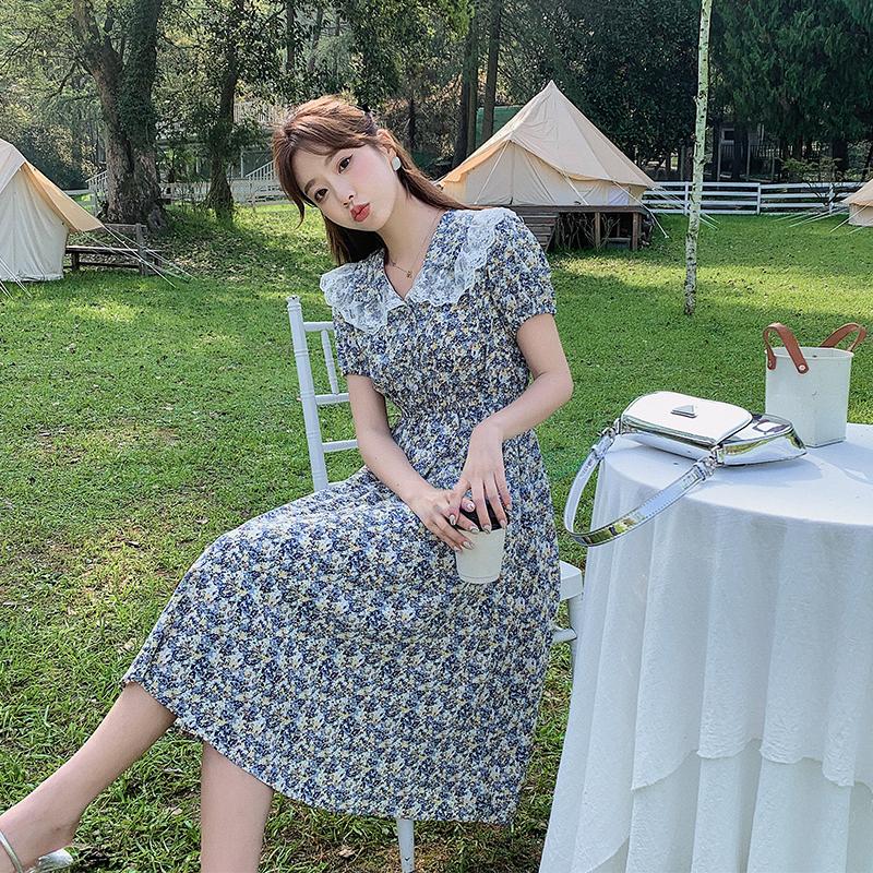 实拍9327# 娃娃领蓝色雪纺碎花连衣裙女夏法式小众温柔气质短袖裙