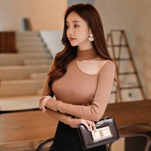 537#韩版2017秋装女装长袖立领打底衫套头秋季百搭修身针...