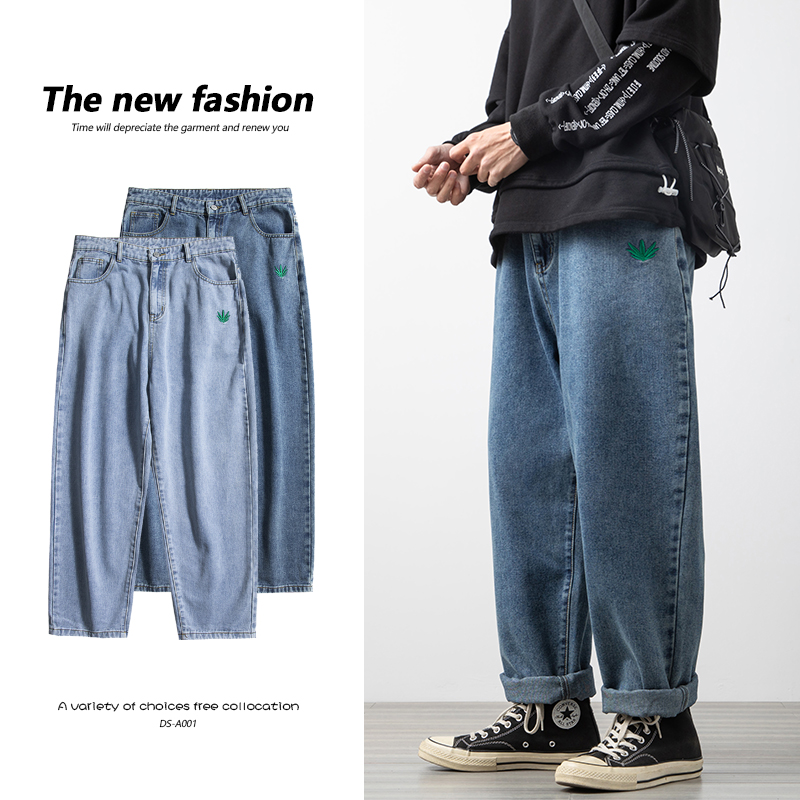 2021 spring fashion mens pants extra large mens straight pants extra large wide leg jeans