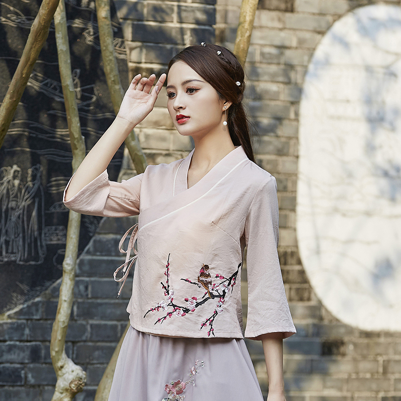 Chinese style women's autumn Chinese style improved Hanfu top retro tea men's clothing Tang suit female tea arts