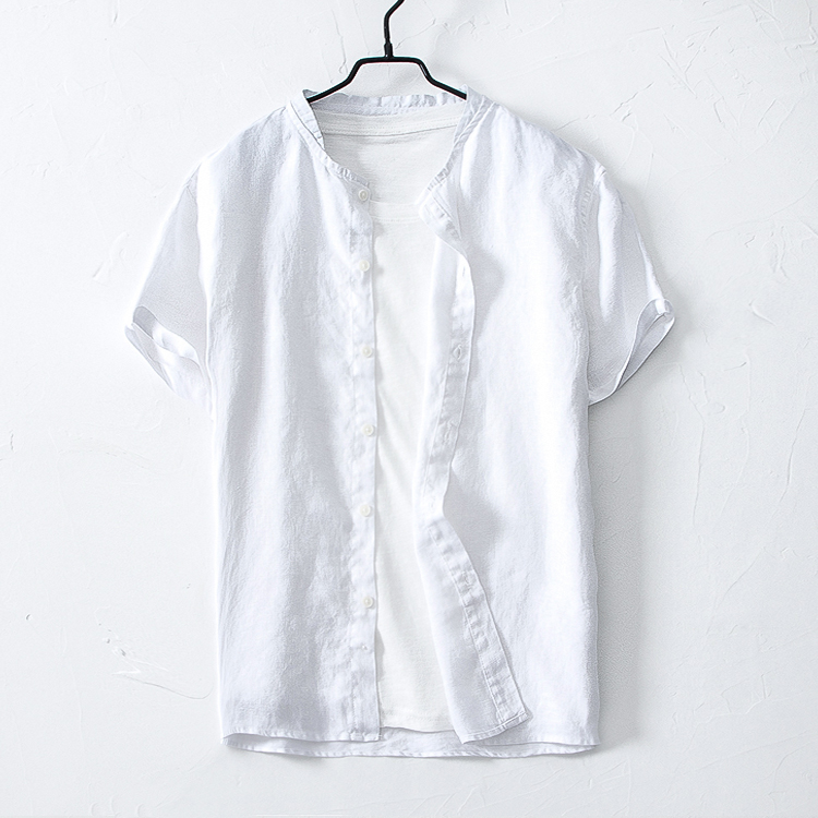 Baseball collar Linen Shirt Mens short sleeve small stand collar casual thin Tan same half sleeve breathable cotton linen shirt
