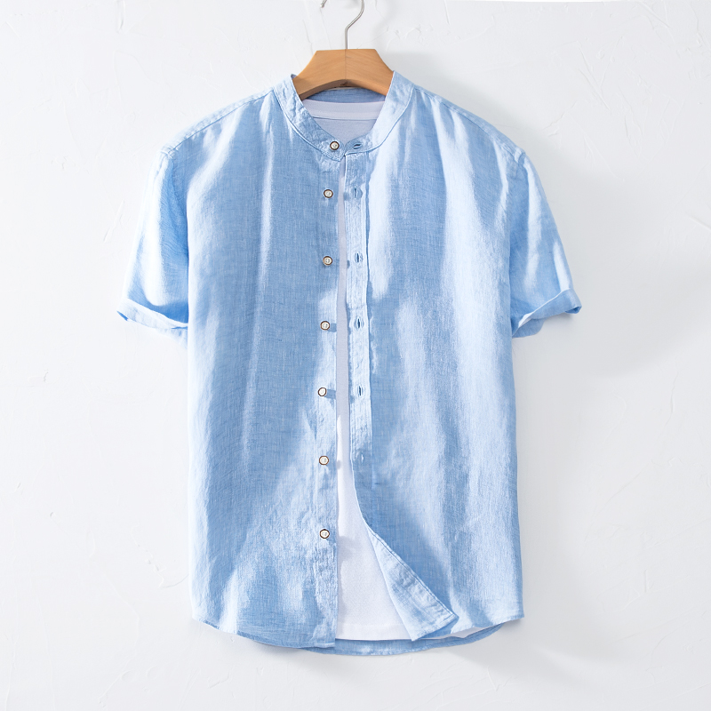 Stand collar Linen Shirt Mens loose large base simple short sleeve top breathable thin half sleeve cotton linen shirt