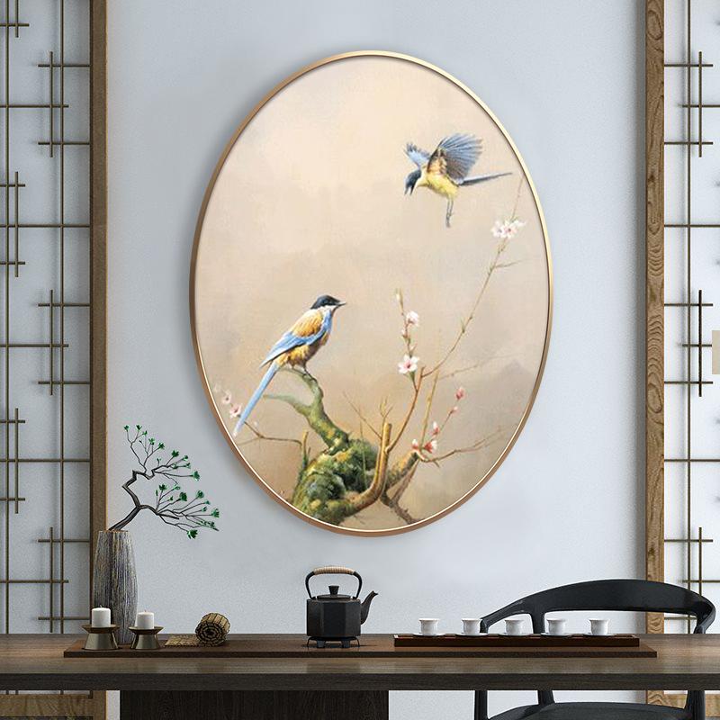 现代新中式客厅玄关卧室床头书房装饰画禅意花鸟手绘椭圆形油画