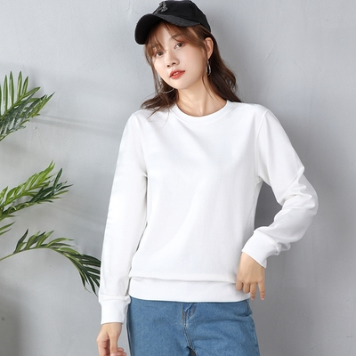 Sweater cotton couple wear 2021 new spring and autumn women's tide ins round neck loose pullover long-sleeved top Korean