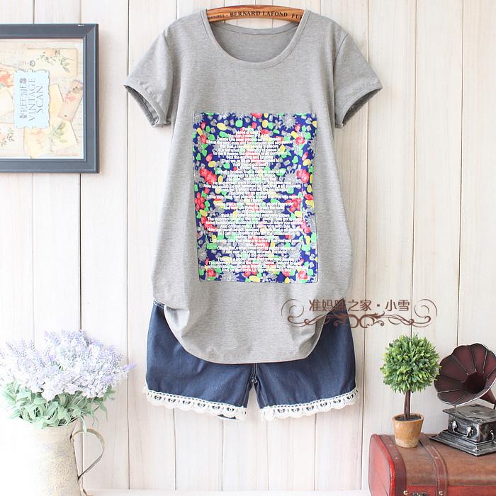 к 2015 году мода материнства Одежда лето топы плюс размер летом коротким рукавом корейских женщин тенниска хлопка дна рубашки W150