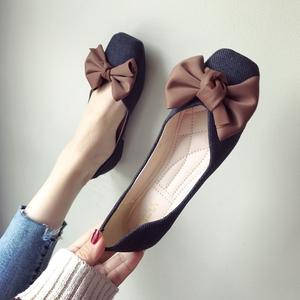 歐美風2020春夏季新款女鞋子大碼蝴蝶結布面淺口方頭平跟平底單鞋
