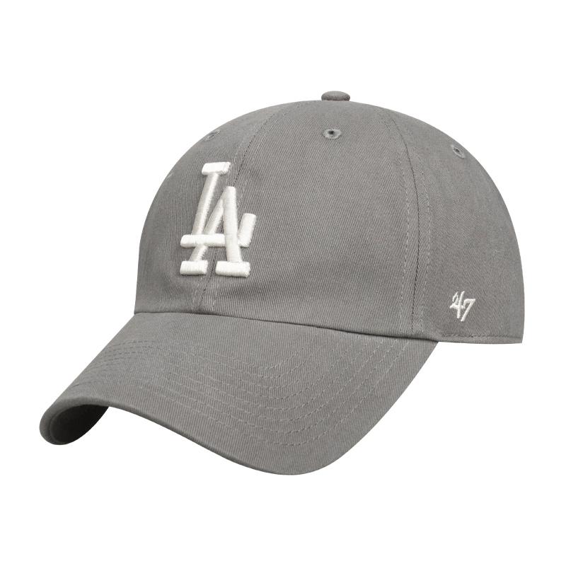 47帽子mlb洋基队软顶浅灰色鸭舌帽夏季遮阳NY刺绣棒球帽男女百搭