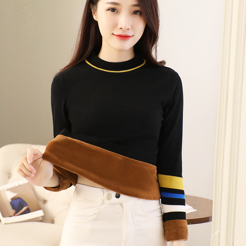 Break size clearance small fresh sweater womens Plush thickened Pullover sweet stripe winter 2020 new warm base shirt
