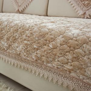 定做简约现代毛绒防滑实木沙发垫四季通用坐垫子全盖沙发套巾欧式