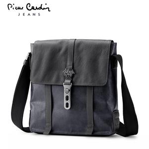 皮尔卡丹男包斜挎包 帆布单肩包休闲背包 男士竖款包包 时尚复古