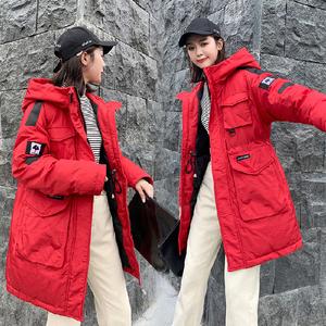 實拍19新款秋冬季羽絨服女中長款寬松bf面包服軍工裝棉衣外套網紅