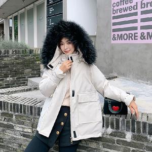 實拍19新款秋冬季羽絨服女 短款寬松超火ins面包服棉衣軍工裝外套