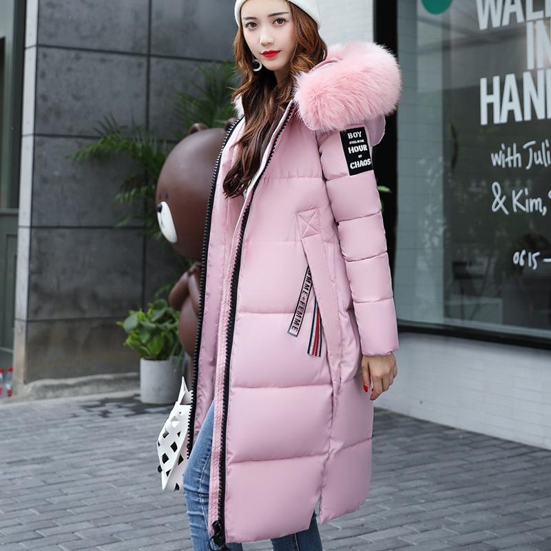 实拍大牌2017冬装新款羽绒棉服女韩版中长款加厚时尚大毛领外套