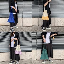 日本设计师褶皱包纯色拼色两款帆布包环保购物袋百搭手提单肩包