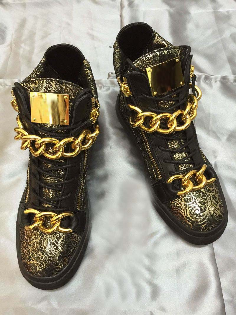 European station lovers high top shoes casual board shoes double iron chain short boots pattern hardware chain fashion shoes flat bottom zipper