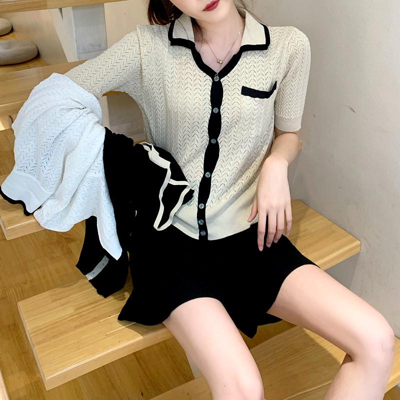 DIN丝麻小香风短袖方领针织衫女2020夏季新款短款T恤薄款显瘦开衫