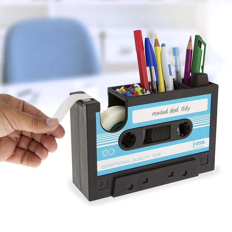 多功能笔筒创意办公桌面文具收纳盒复古磁带造型笔架胶带座切割器