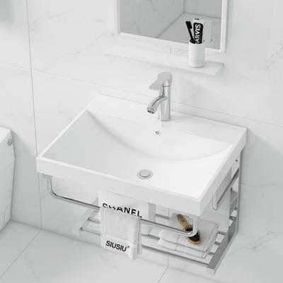 简约挂墙式洗手盆不锈钢支架陶瓷洗脸盆小户型卫生间一体简易台盆