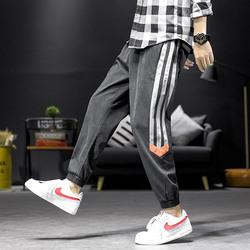 港风秋装男士束脚裤工装裤大码九分裤休闲裤男小脚长裤子k903-p45