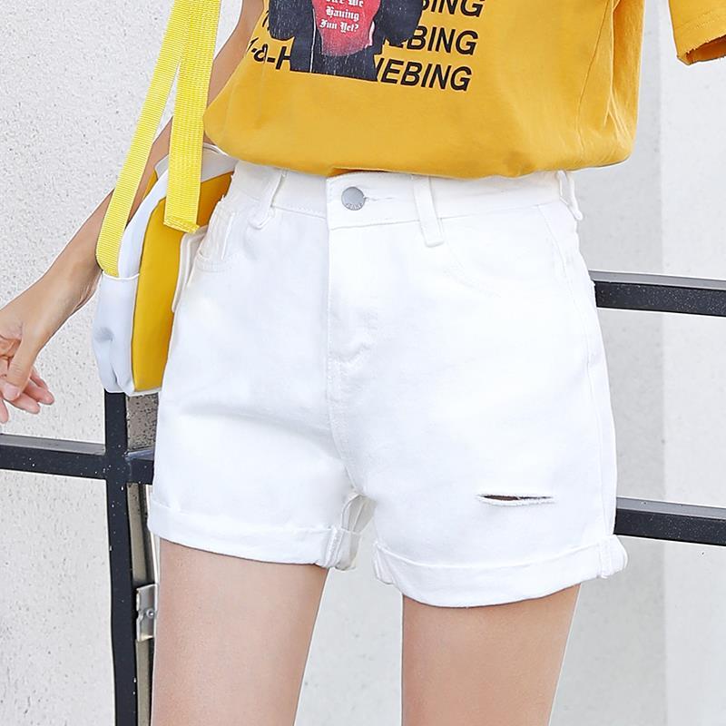 2012#实拍视频破洞翻边牛仔短裤女夏季新款韩版百搭纯色打底热裤