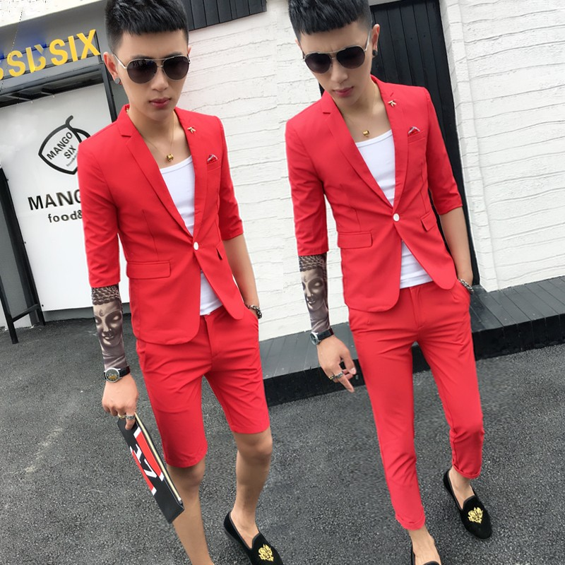 Лето облегающий, южнокорейская версия семь штук англия запад мужчина два рукава волосы тип модельние установите мужчина волна ночные клубы небольшой костюм