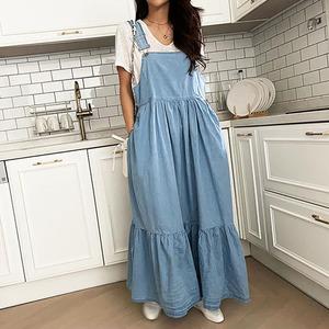 YF58189# 韩版宽松显瘦休闲牛仔背带连衣裙 服装批发女装直播货源