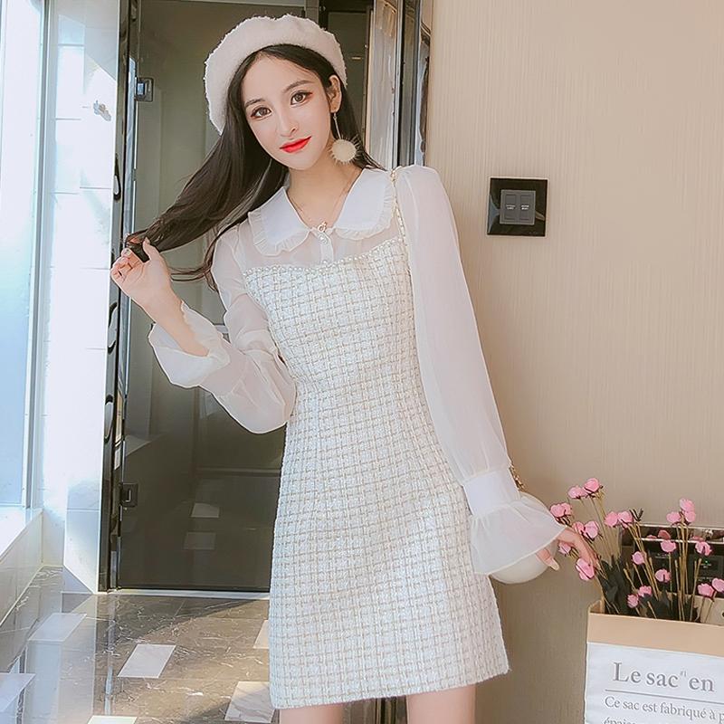 长袖小香风连衣裙子女装秋冬装2020年流行新款收腰显瘦气质A字裙