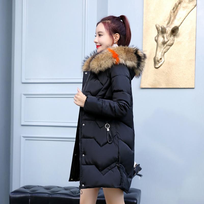 中长款棉衣女2018冬季毛领款韩版显瘦连帽加厚加大码羽绒棉服外套