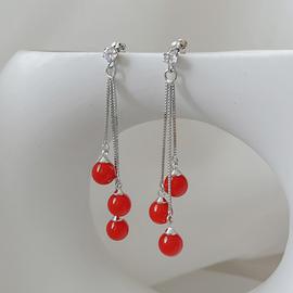 气质红珠子无耳洞耳夹女韩国长款结婚耳环软垫会动的耳饰潮防过敏