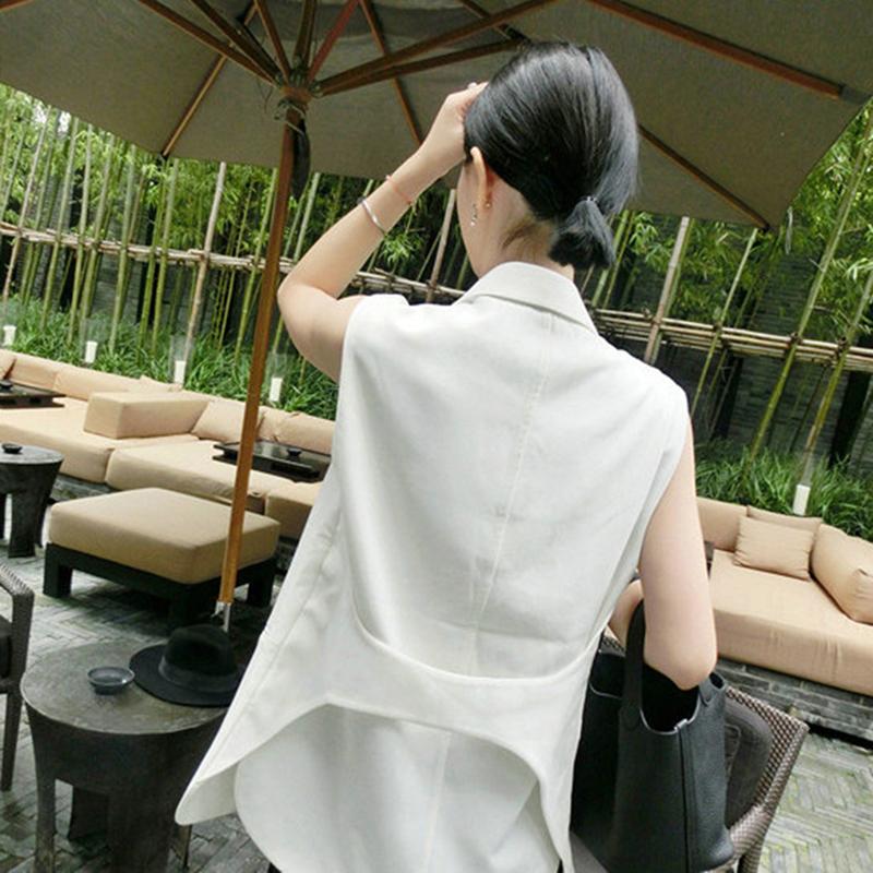 小个子新款春秋韩版中长款西服女马夹背心白色西装外套无袖马甲女