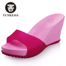 Yunke 2019 summer new slope heel beach shoes non slip thick bottom high heel fish mouth sandals female slope heel flip flop
