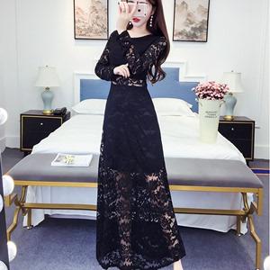 2018秋季新款女装夜场性感打底蕾丝连衣裙鱼尾包臂修身显瘦长裙