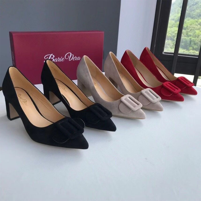 High heeled professional pointed sheepskin single shoes thick heel shallow mouth suede bow set foot solid Four Seasons Womens shoes wedding shoes