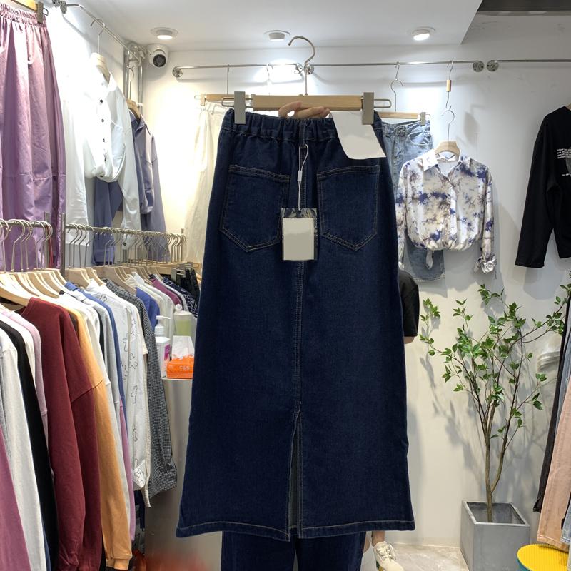 东大门时尚2020年秋季新款女装韩版百搭高腰深蓝色牛仔显瘦半身裙