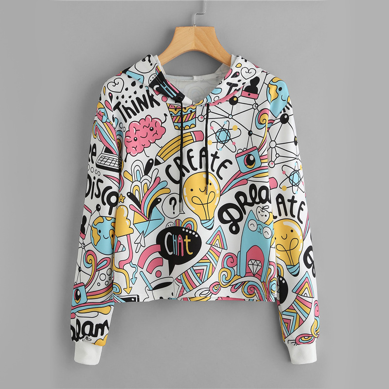 Womens long sleeve multi color cartoon hooded casual Sweatshirt in spring and autumn 2018