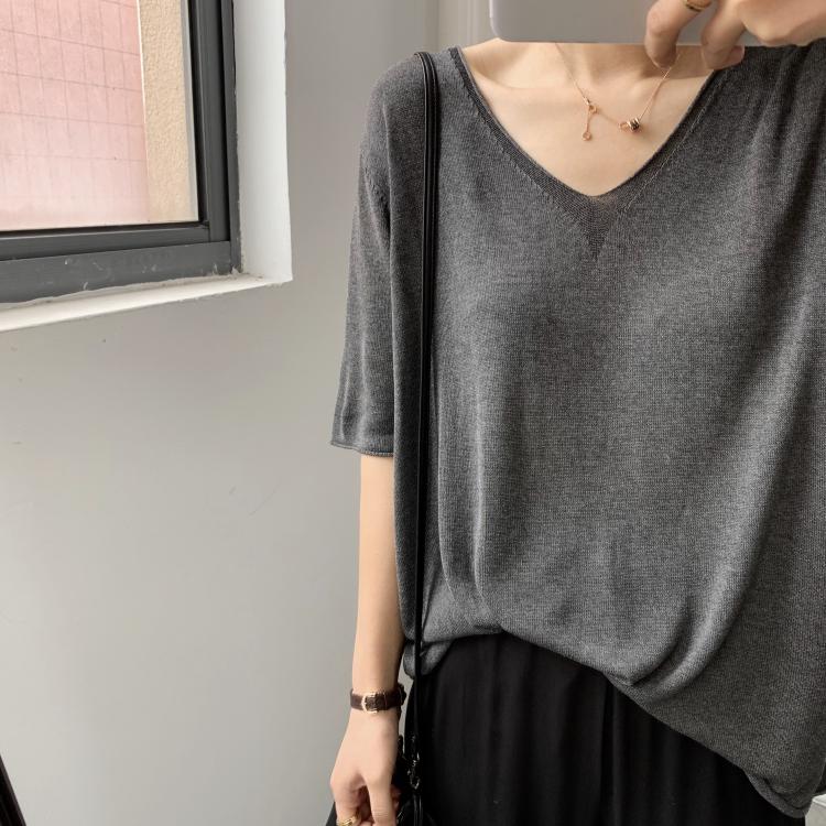 自留推荐春夏冰丝V领针织衫 简约纯色百搭显瘦短袖针织上衣