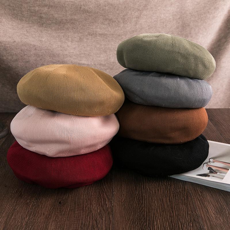 Beret womens summer Korean version with INS thin Japanese pumpkin hat spring and autumn British retro online Red painter hat