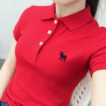 夏季女装红色短袖翻领t恤纯棉带领polo衫女可爱大码运动有领上衣