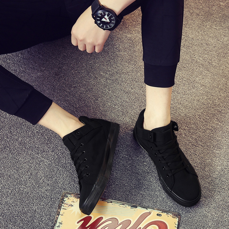 Spring casual mens canvas shoes high top shoes trend board shoes black cloth shoes Korean casual shoes inner elevated mens shoes