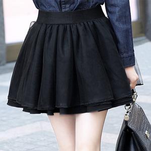 網紗蓬蓬裙半身裙熱賣新品黑色紗裙短款裙子大碼女裝松緊腰百搭裙
