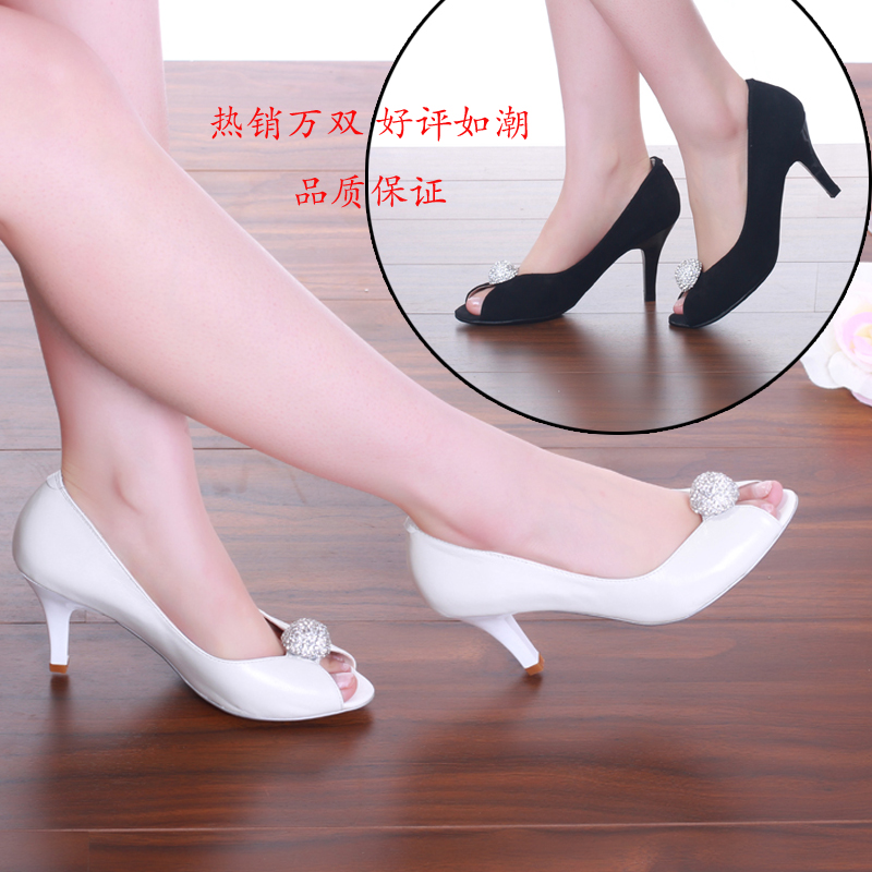 Leather fish mouth single shoes 2021 new womens summer new high heels professional womens shoes ol with drill sandals womens thin heels