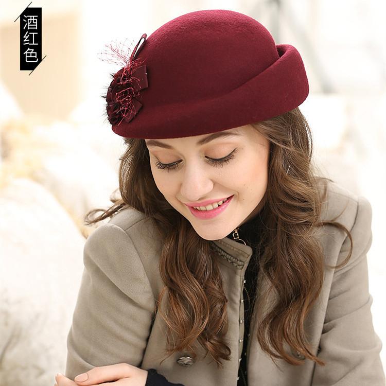 秋冬季帽子女韩版羊毛呢英伦贝雷帽圆顶礼帽水貂毛花朵卷边空姐帽