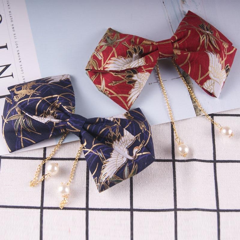 (用1元券)日式和风樱花大蝴蝶结发饰一字夹