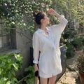 白色衬衫小个子雪纺休闲套装女2020年夏季新款阔腿短裤防晒两件套