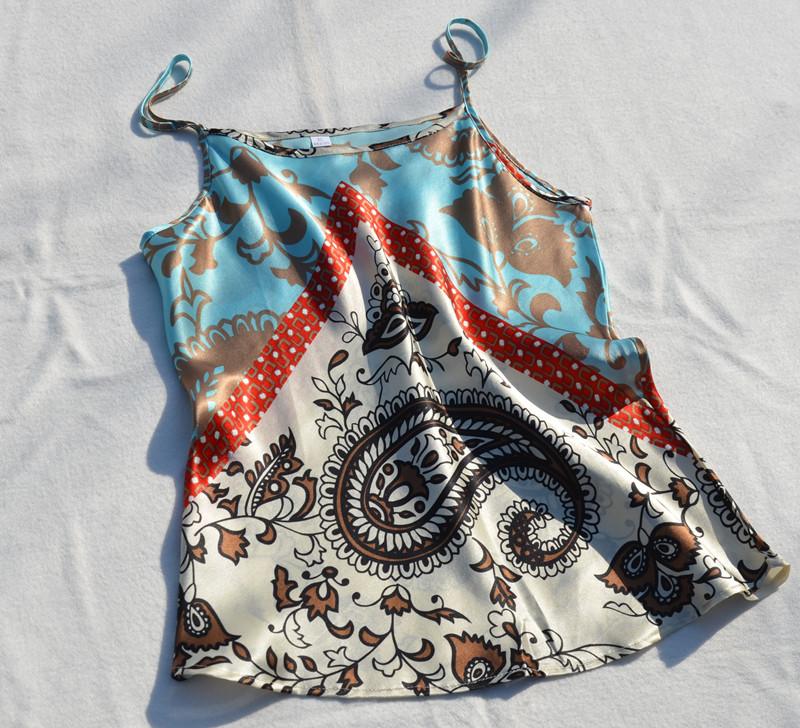 B231 Europe и ретро печати кешью цветок предвзятости cut шелка лифчик шелка без рукавов верхней рубашки