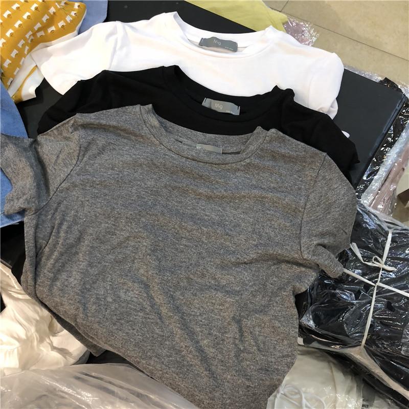 欧洲站2021夏新款韩版时尚显瘦简约光版舒适短袖圆领T恤衫上衣女