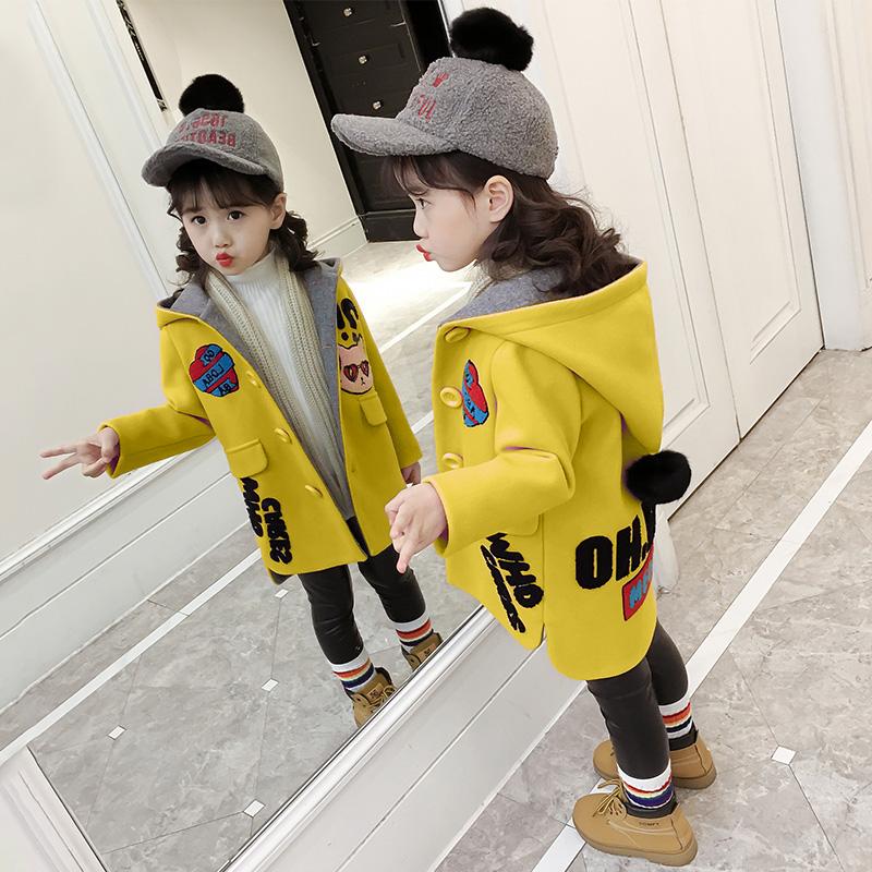Девочки шерстяной пальто 2017 новый корейский зима ребятишки западный стиль осень и зима принцесса волна одежда ребенок шерстяные пиджак